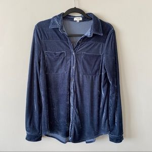 Umgee-Crushed Velvet Button Down Long Sleeve